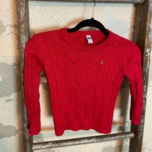 Baby Gap cable knit red sweater 4 EUC